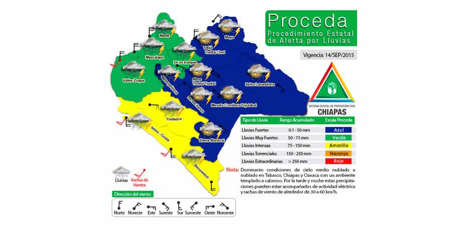 habrá alto potencial de lluvias en Chiapas
