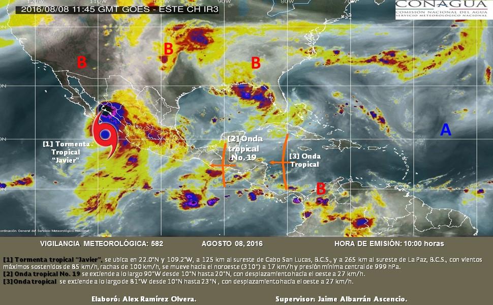 Se monitorea Onda Tropical No. 19 que podría generar lluvias fuertes en Chiapas