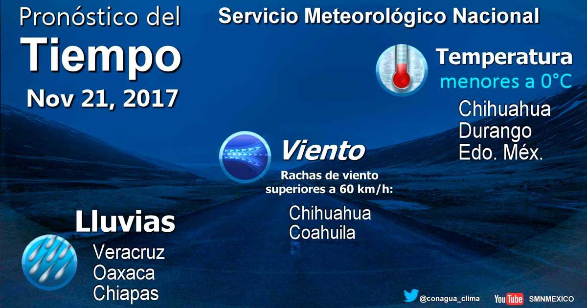 Temperaturas matutinas de menos cero grados Celsius se prevén en las montañas de Chihuahua, Durango y el Estado de México