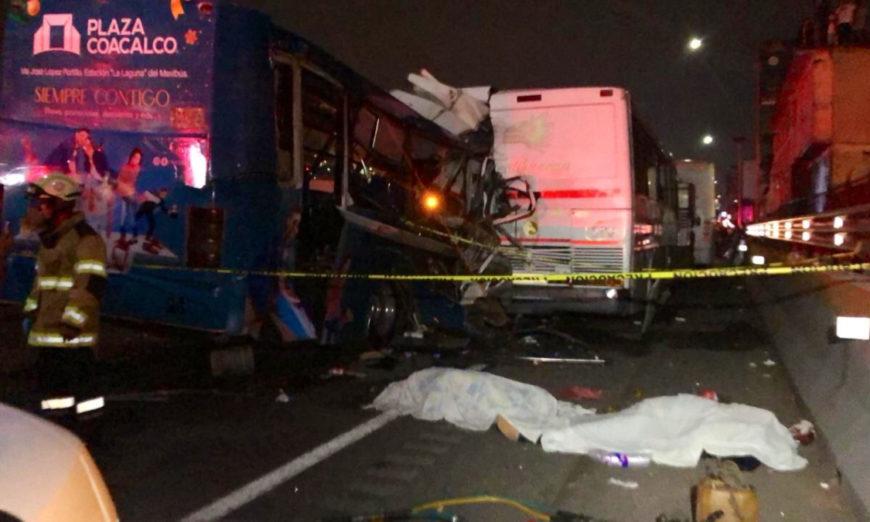 Choque de autobuses en la México-Pachuca deja 11 muertos (Video)