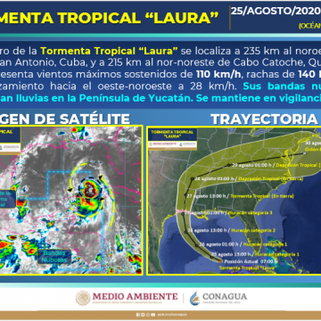 'Laura' se vuelve huracán en el Golfo de México