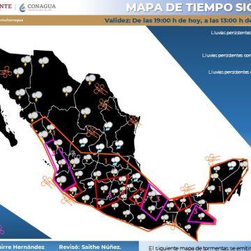 Se pronostican lluvias intensas para Chiapas, Oaxaca y Veracruz