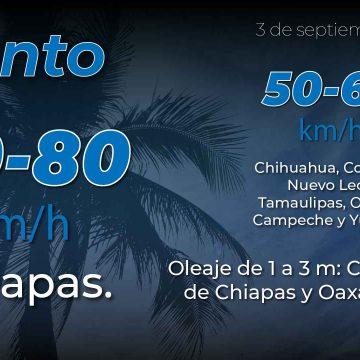 La tormenta tropical Nana ocasionará lluvias puntuales intensas en Chiapas, Campeche, Oaxaca, Tabasco y Veracruz