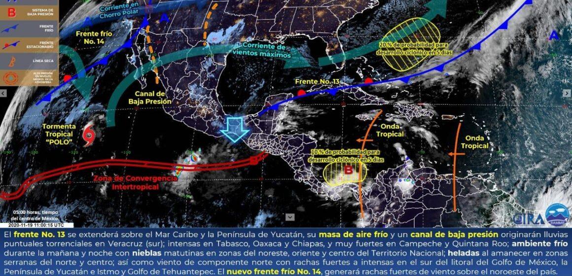 Continúa seguimiento meteorológico y atención a la población, ante paso de Frente Frío 13