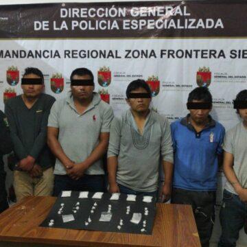 Detiene FGE a cinco personas por delito contra la salud en región Fronteriza